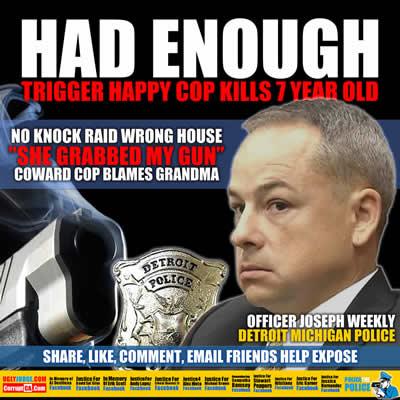 detroit michigan police officer joseph weekley shoots child in the head blames grandma