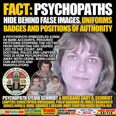 fact Sylvia and gary a schmidt with the help of lawyer christopher overgaard phillip barbaro jr violet boskovich judges candace j beason judge mary thorton house county of los angeles