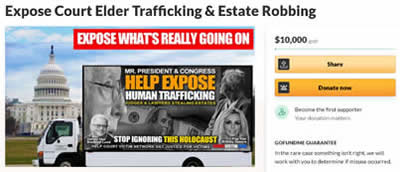 Donate via Go Fund Me to help stop Human Trafficking of our elders